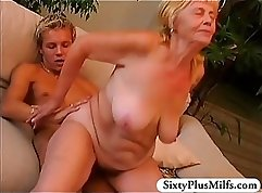 Blonde granny wet pussy licking