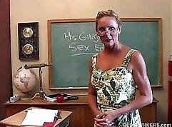 Big ass teacher gets a hard cock in her pussy