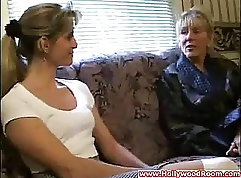 Curly mature and young lesbians toying in their bed sheets