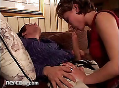 Buttfucked mature is going for unknowing blowjob