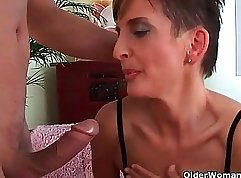 Big ass milf in stockings fucked and side banged by pervy black stud