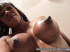 Black patent womeners Stewardess Ivy gets cum in her face