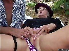 Blonde Granny having Outdoor fun