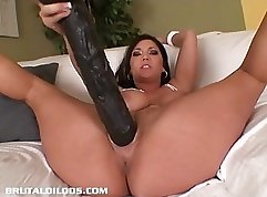 Big tits babe Kimberly prefers to use her dildo on her pussy