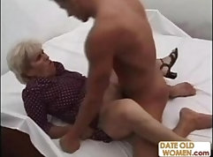An old world record his crazed grandma rides her lovers dick