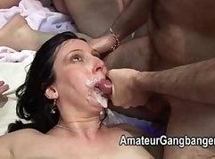 Brunete Mature Allure gives Happy Ending Cum Facial