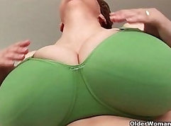 Amateur BBW with big boobies masturbates with huge dildo