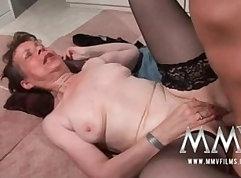All naked granny masturbates in her sexy panties