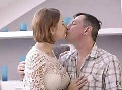Brittney exposes her tits as she fucks young cock with shecock