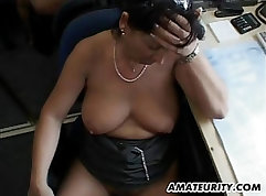 Amateur Busty MILF Banged and Facials