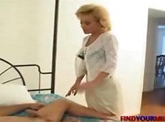 Blonde MILF breeding her soren