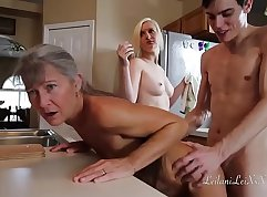 two hot uniforms blonde in threesome