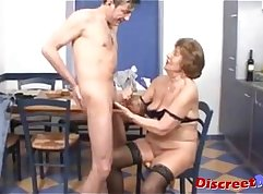Big Tit Trans Granny takes HJ In Her Ass