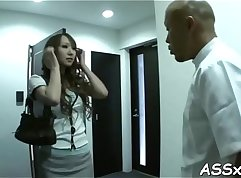 Bonny Japanese cutie with nice tits gets boned to a huffy finish