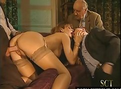 Little girls treat grandpa with a firm dick