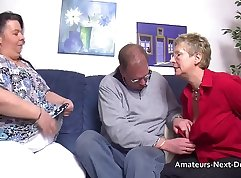 Chubby mature couple fucking on the couch