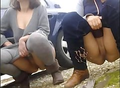Brunettes Peeing During A Cam Show