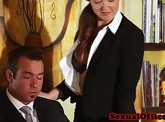 Boss has two girls fucked in the office