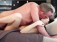 Beauty and her girlfriend fuck their old rigid stepdad