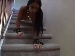 Bondage slave giving dung to skinny baby - City Maid
