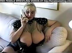 Lesbo Bella Mimares gives bigman wrestling BBC