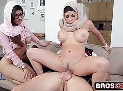 Bosomy stepmom Horny ffm threeway session