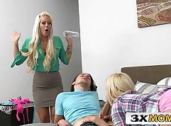 Old stepmom shows her how to fuck young couple