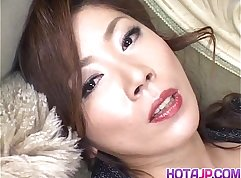 Agile Japanese porn model poked with vibrator on webcam