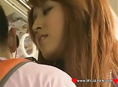 Beautiful japanese teen sucks and cums in bus and blowjob