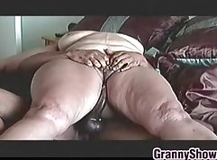 Blonde granny loves riding cock