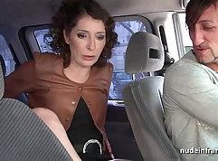 Curvy milf caught masturbating in taxi on vacation