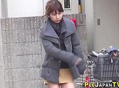 Japanese public pissing and masturbation