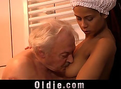 Teen cutie nailed by grandpa during shower