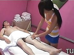 Babe Presents Her First Tits in Massage Table