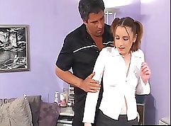 Acrobatic nympho drilled in ear for jizz