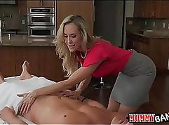 Busty curly MILF gets her wet twat fucked in threesome
