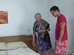 Cute young blue eyed blonde nailed by elderly granny